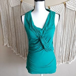 Anthropologie Butterfly Green Ruched Blouse M